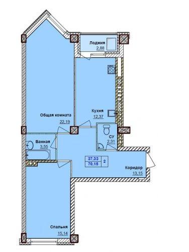 Планировка 2к квартиры, ЖК Грани